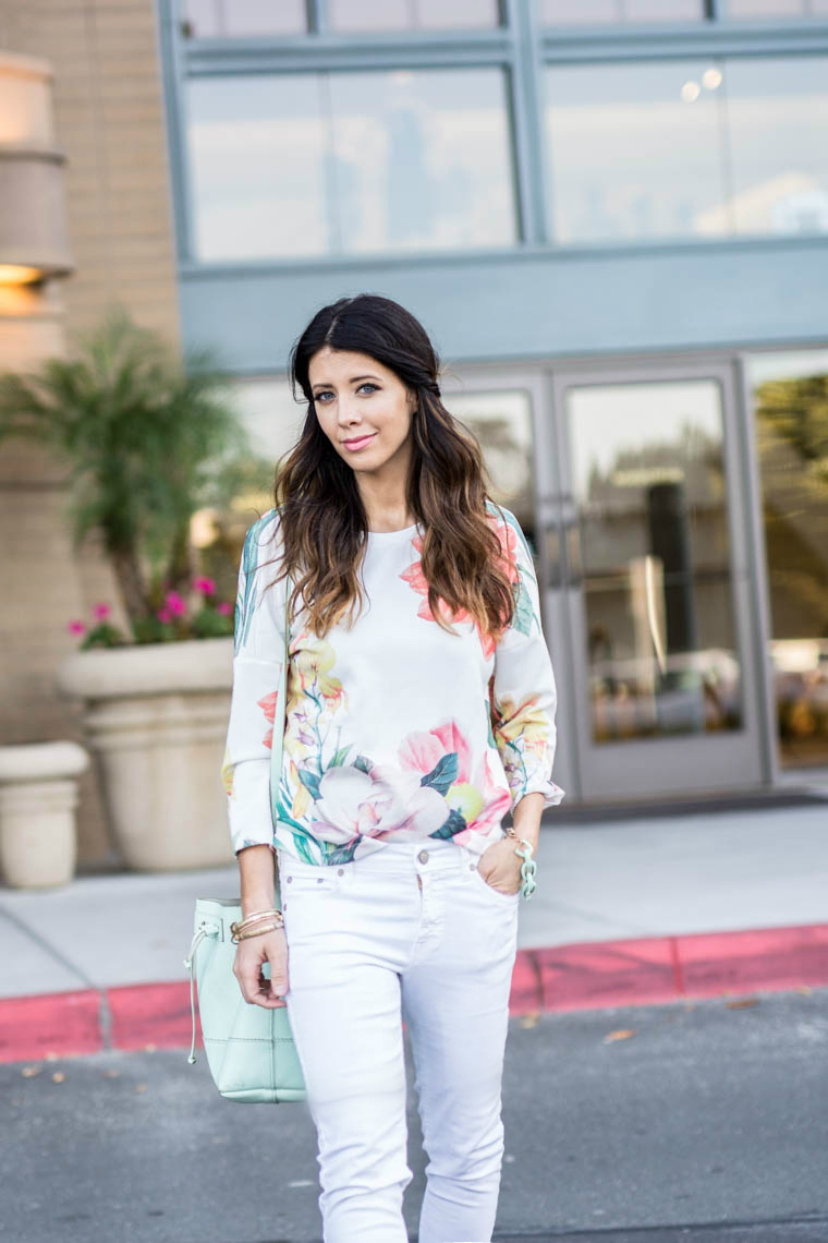 Floral, white, wedges, mint