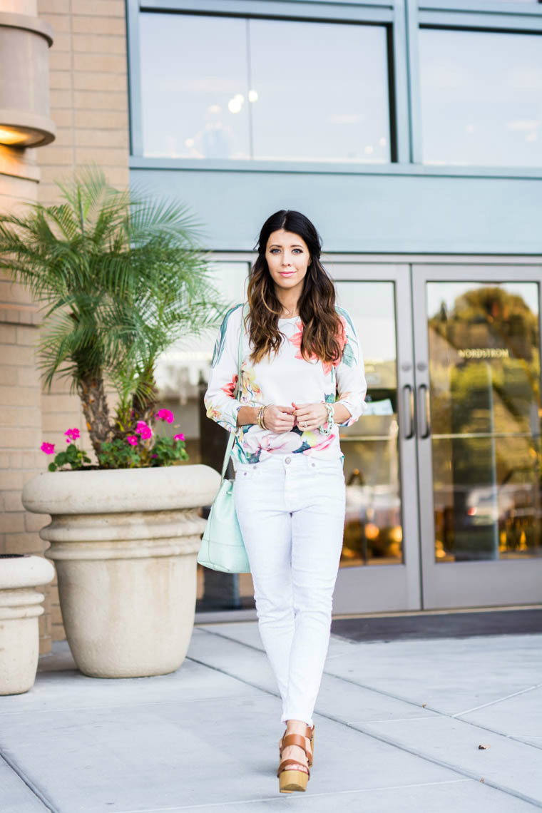 Wedges, white jeans, floral