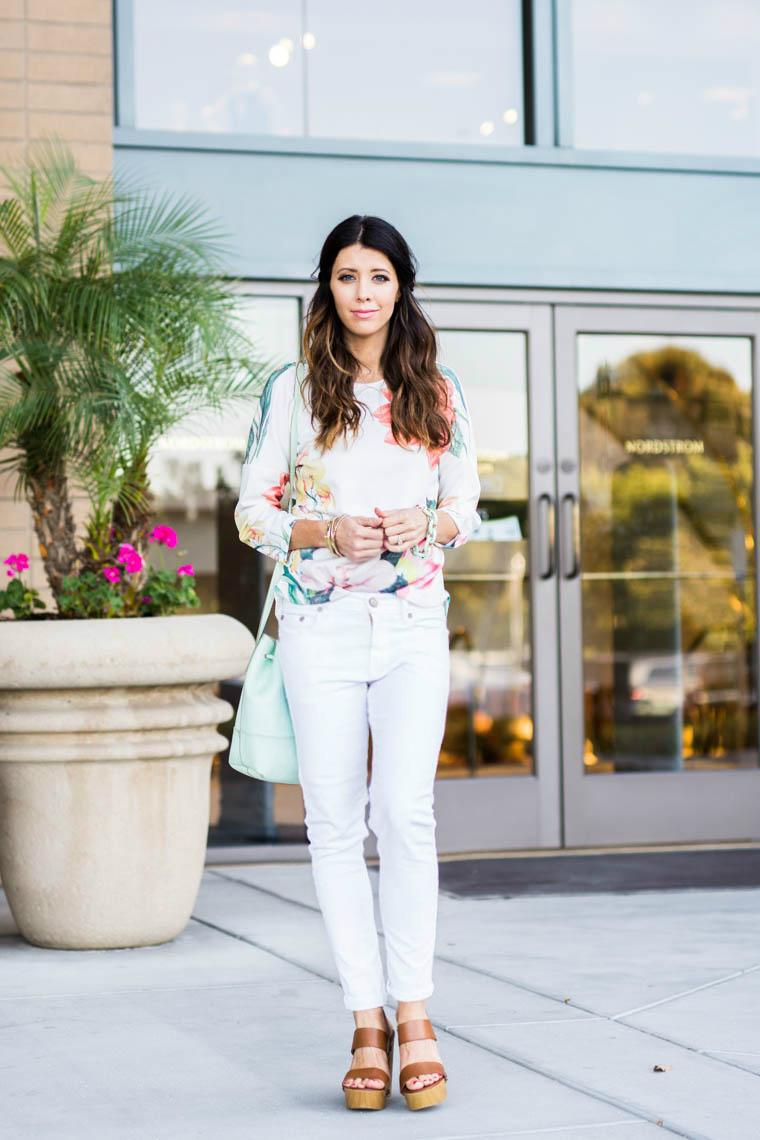Wedges, white pants, floral top, mint bag