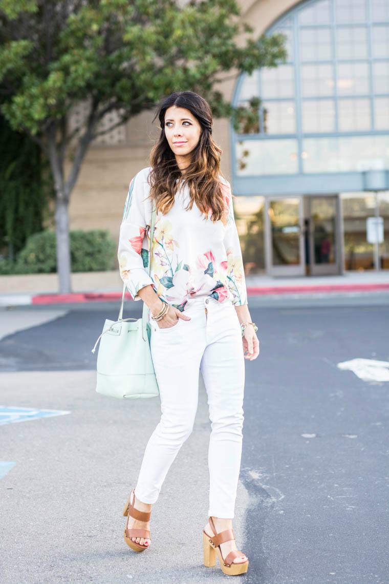 White pants, floral top