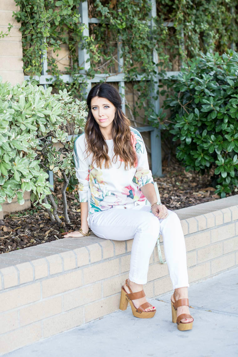 White pants, wedges, floral