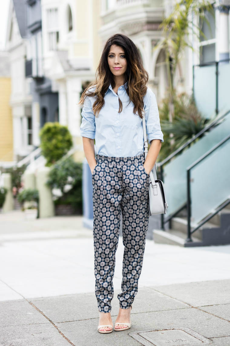 Blue Collared Top, Slouchy Pants, Dressed Up Attire
