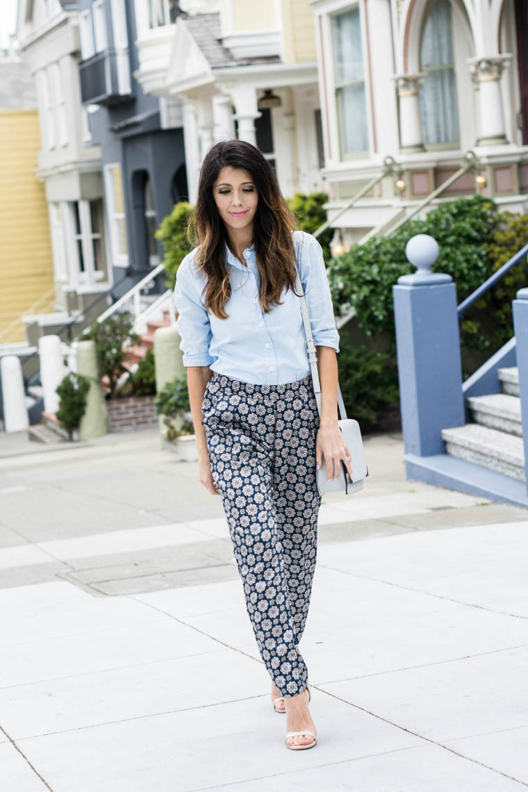 Blue collard top, slouchy pants