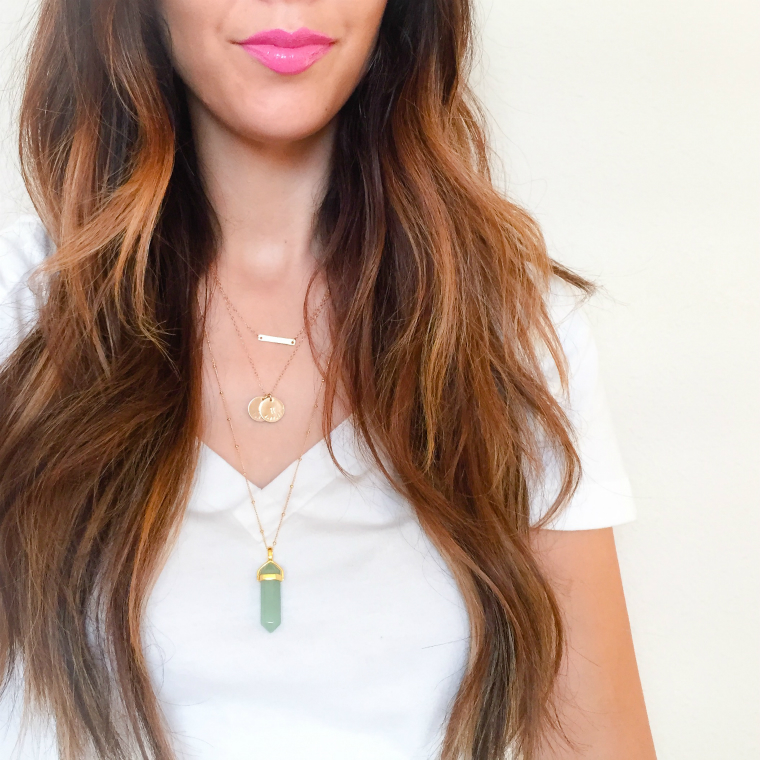 Pop of lip, Layered Jewels, Long Hair