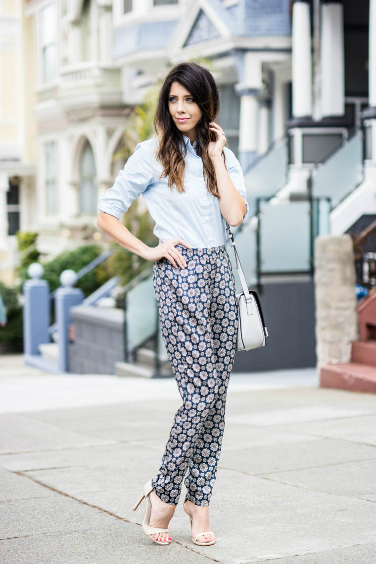 Slouchy pants, blue collard top, nude strappy heels