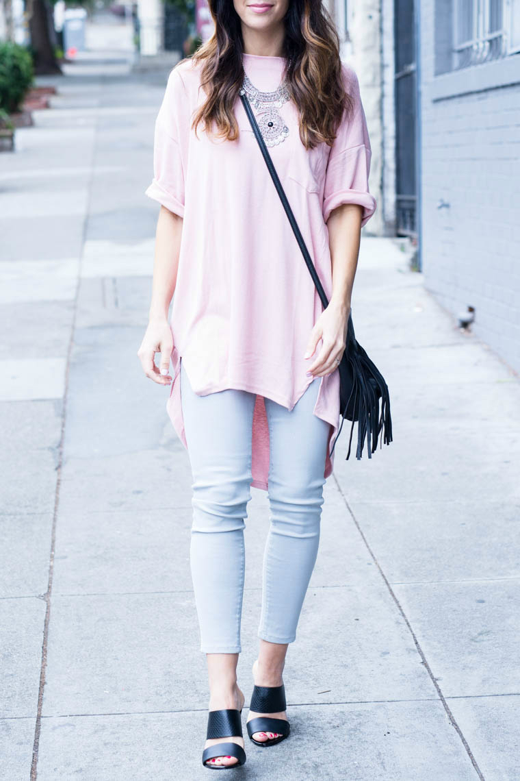 black mules, pink top, grey jeans, sliver jewelry