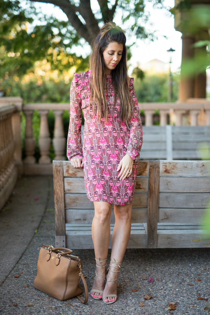 70's inspired dress, lace up heels