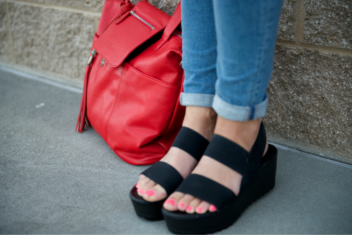 Black Sandals, Red Bag
