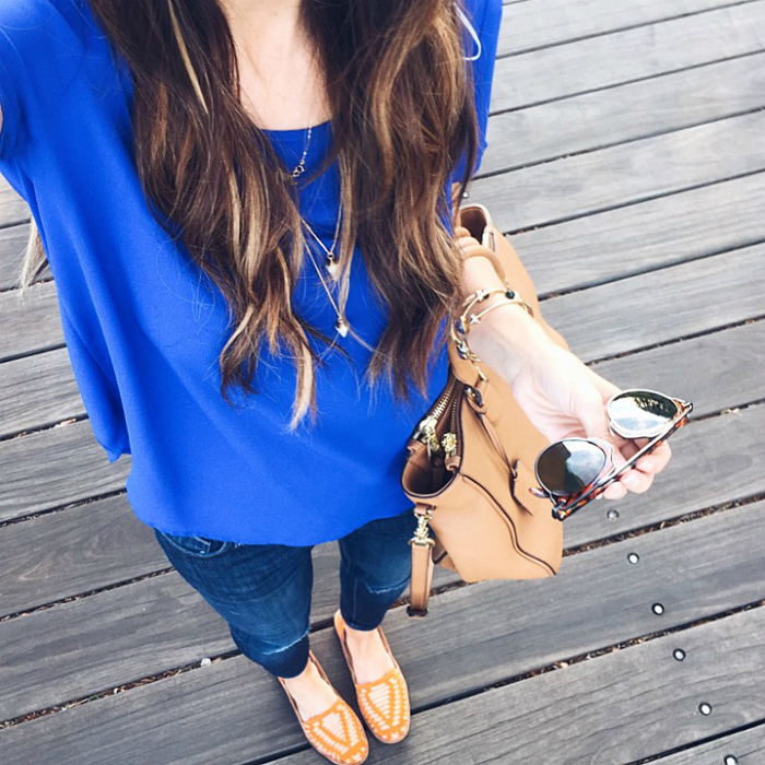 Blue Top, Orange and Tan Sandals