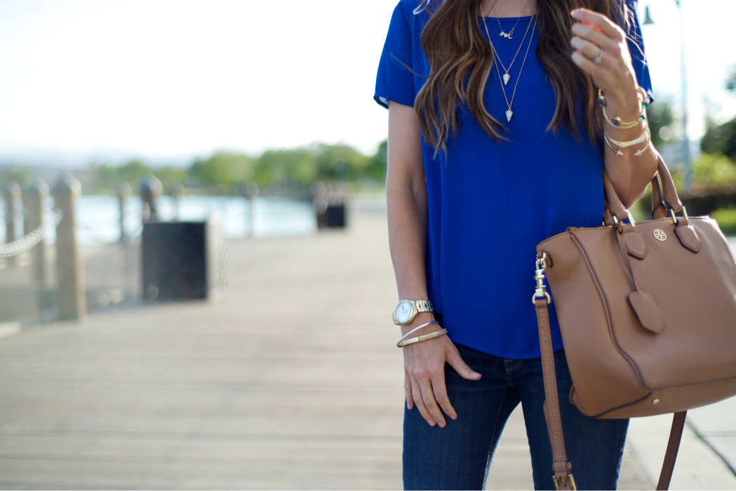Colbalt Blue Top, Layered Jewelry