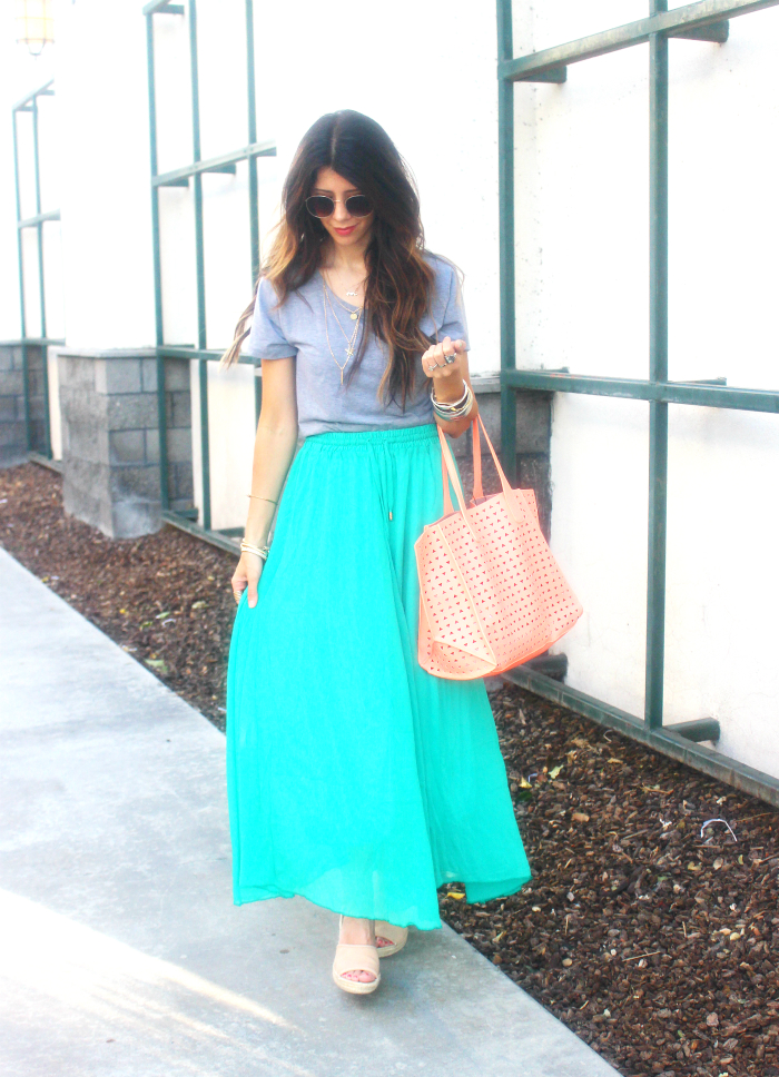 Coral Bag, Green Shirt, Grey Top
