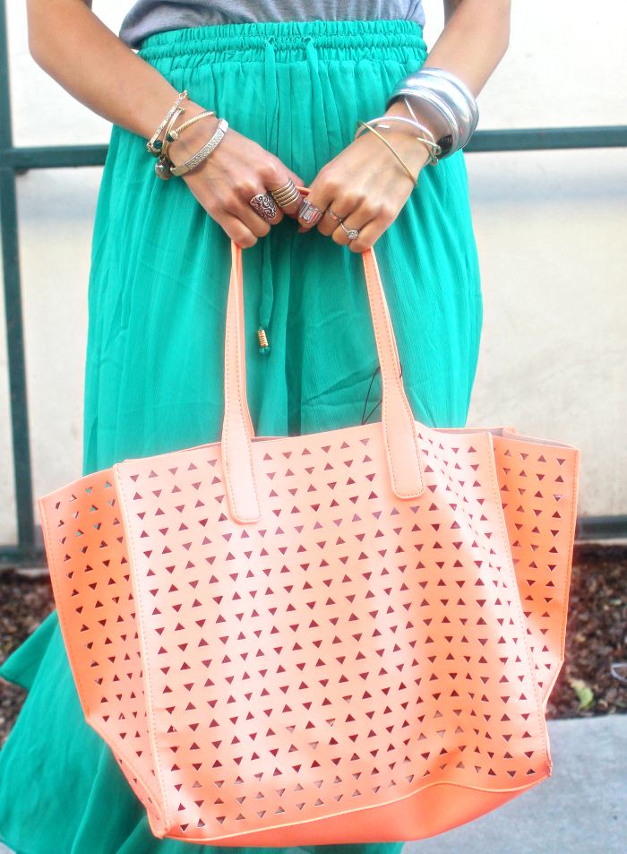 Coral Bag, Sliver & Gold Jewels