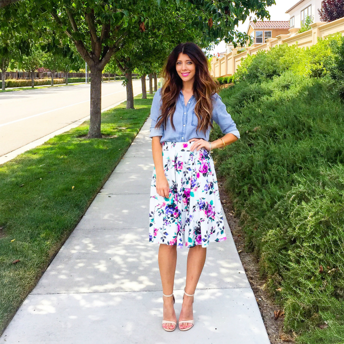 Floral Midi, Denim Top