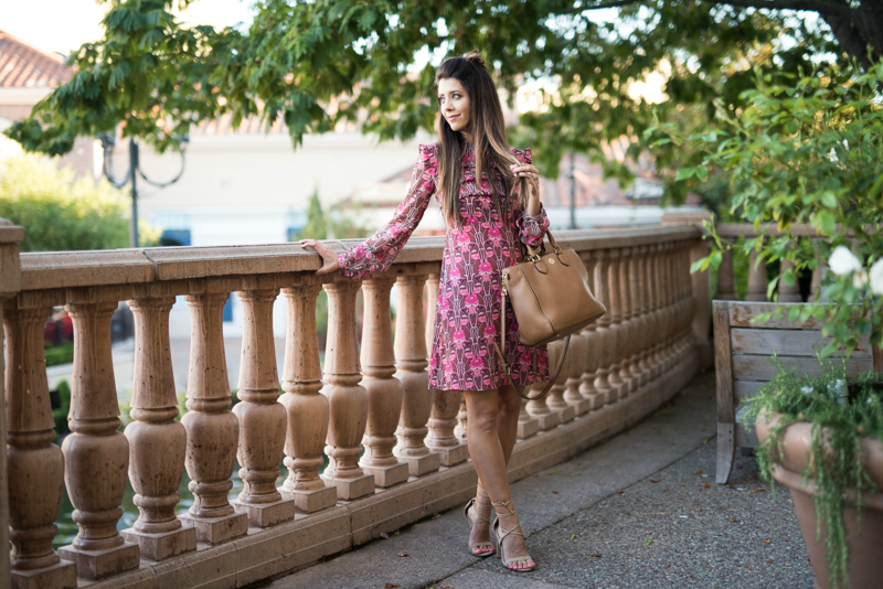 Floral print dress + Nude colored lace up heels