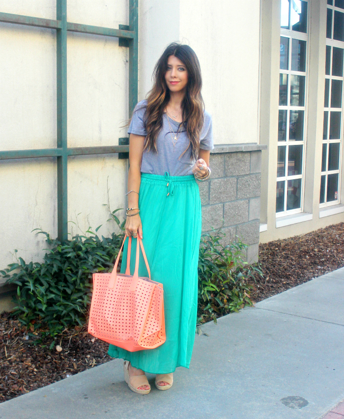Long Green Skirt, Grey Top