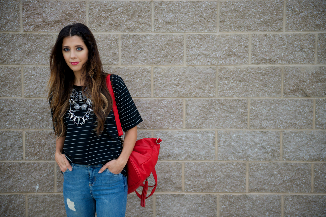 Red Bag, Striped Top