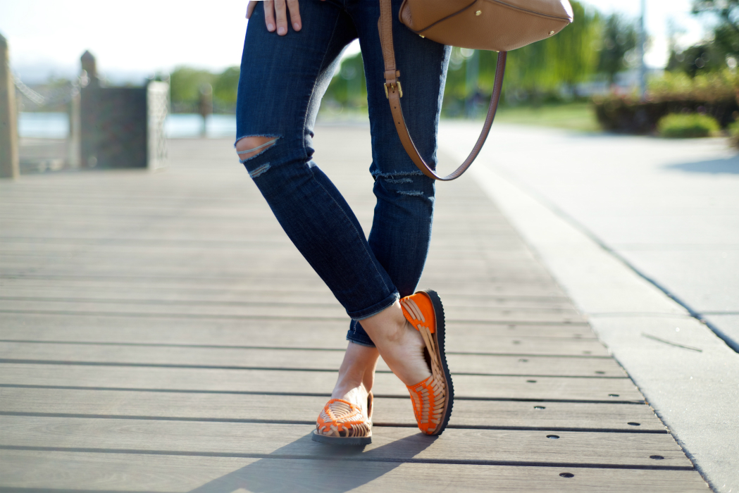 Sandals, Distressed Jeans