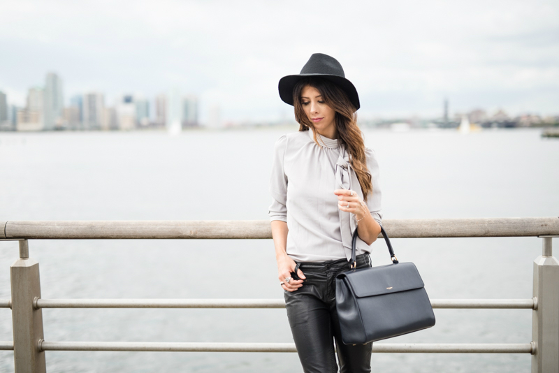 Black Hat, Grey Bow Tie Top