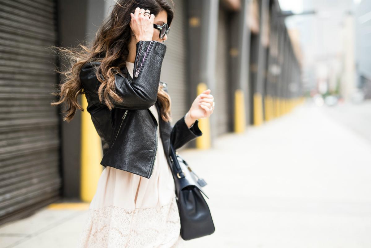Black Leather Jacket, Cream Lace Dress
