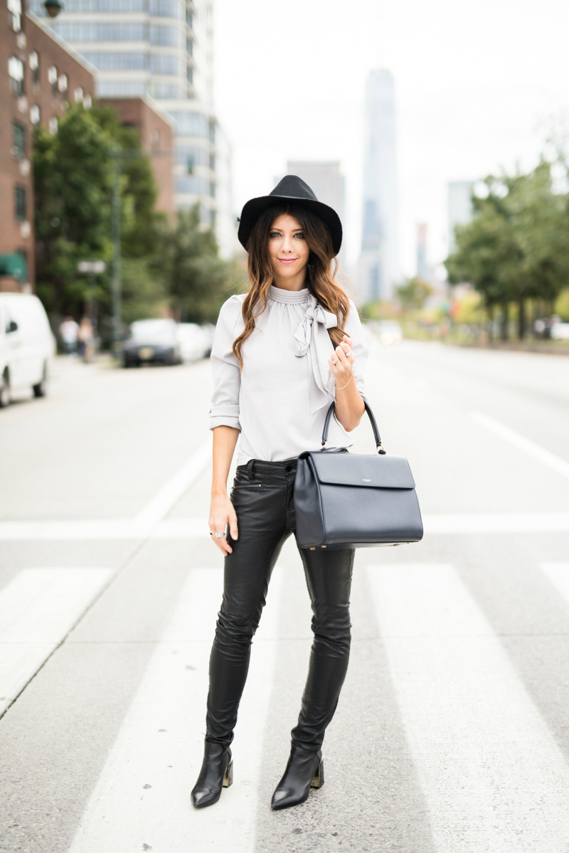 Bow Tie Top, Leather Pants, Ankle Boots
