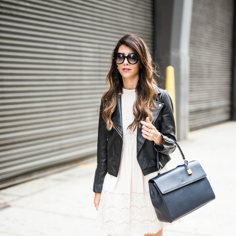 Cream lace Dress + Black Leather Jacket