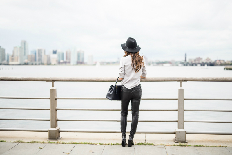 Grey top, Black leather pants, leather booties