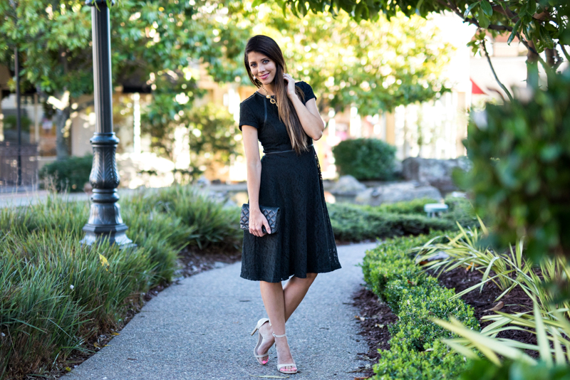 Lace Black Dress + Nude Colored Heels