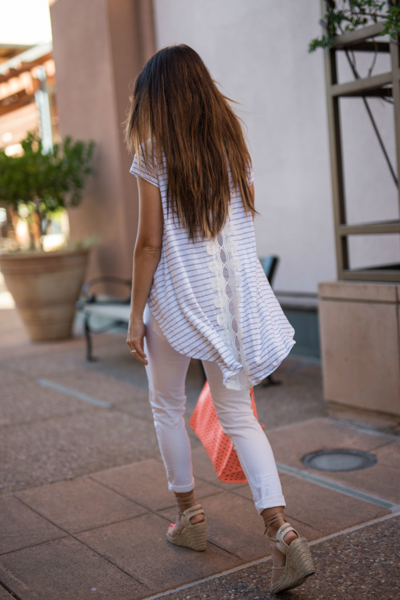 Lace & Striped Tee