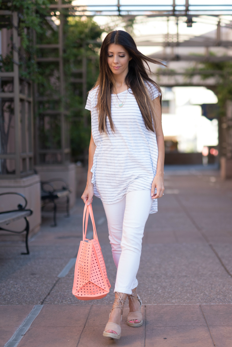 Striped Tee, White Jeans, Coral Handbag