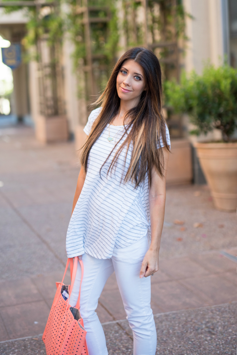 White + Grey Striped Tee