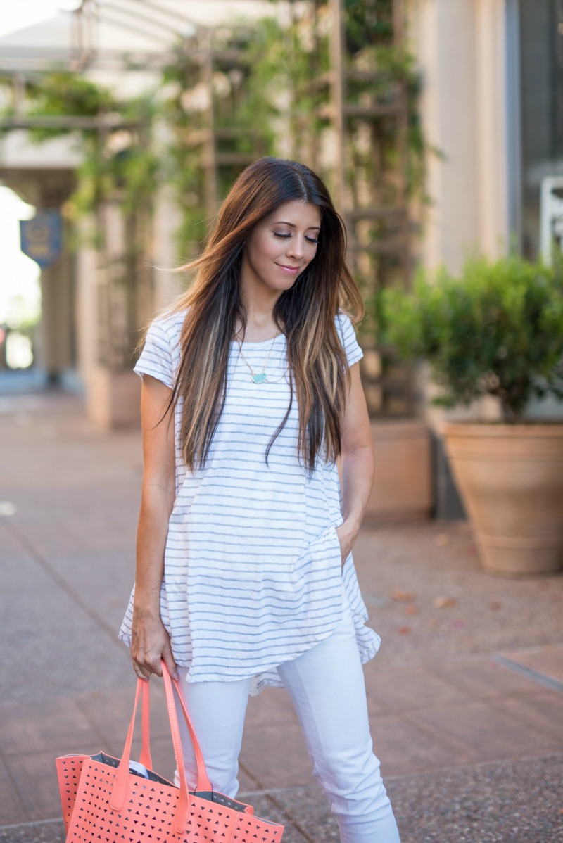 White Striped Tee, White Jeans