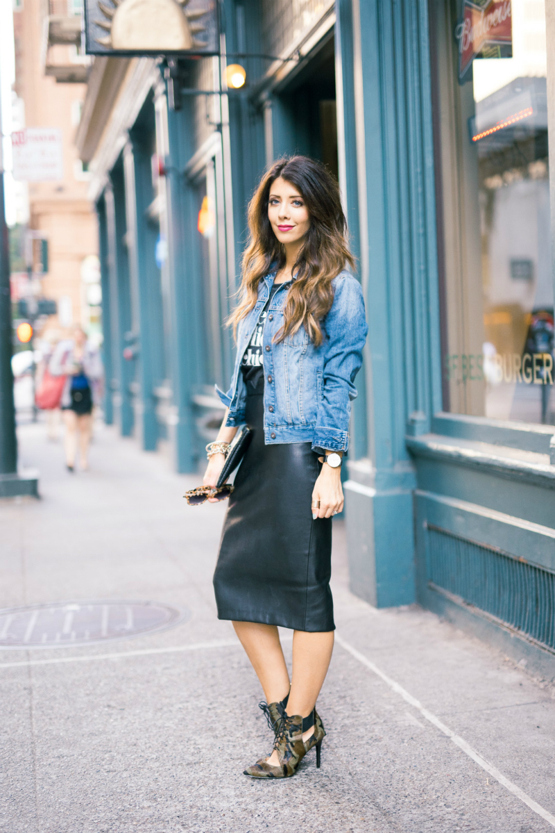 Denim Jacket + Leather Skirt