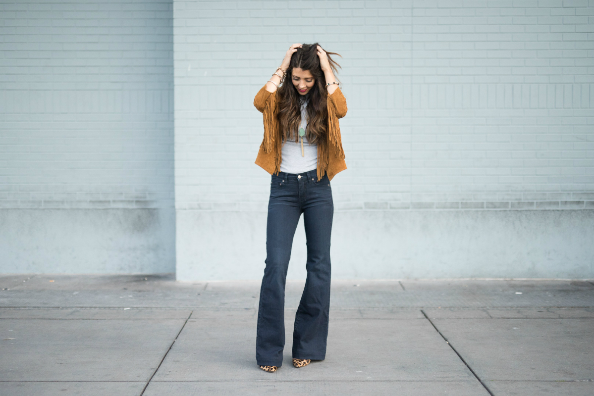 Flare Jeans + Fringe Jacket