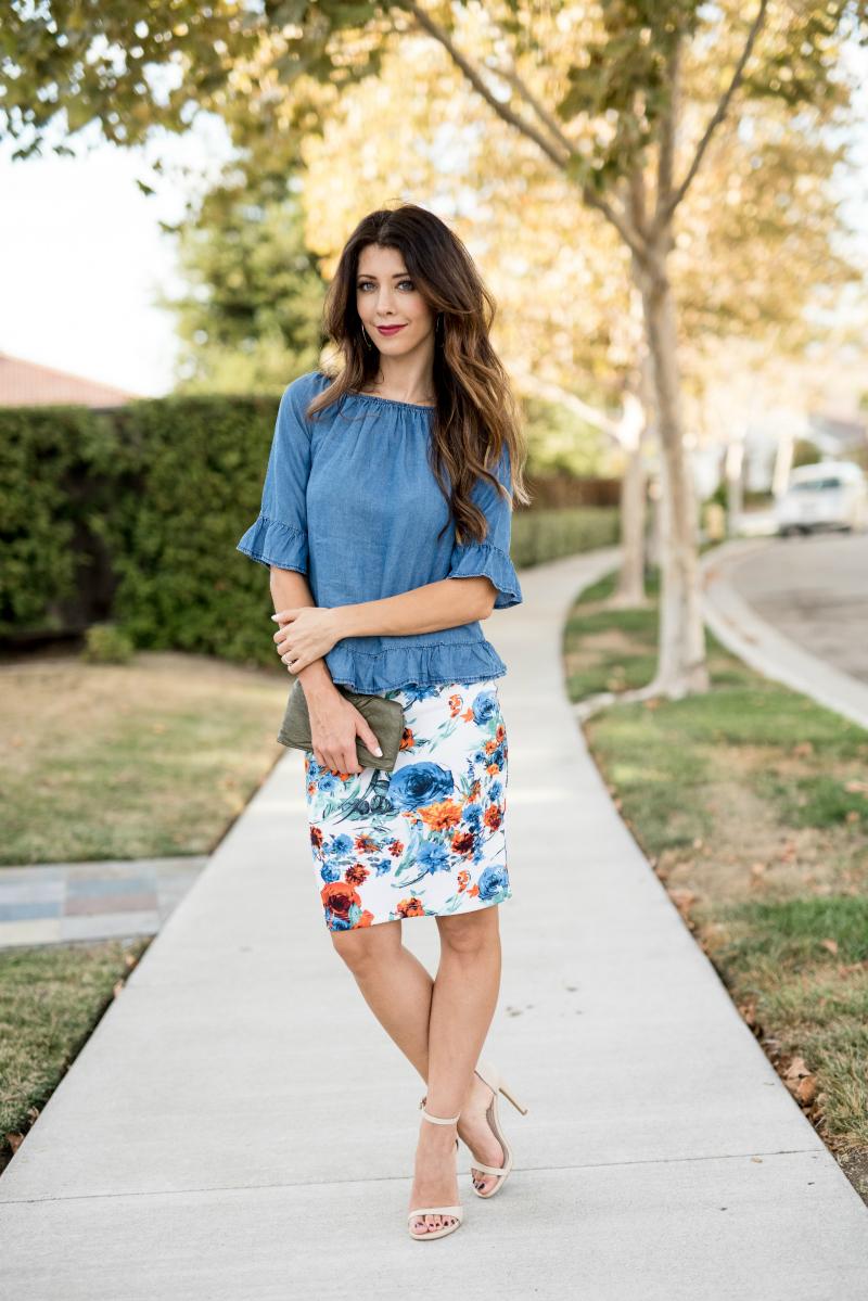 Floral Skirt + Denim Top