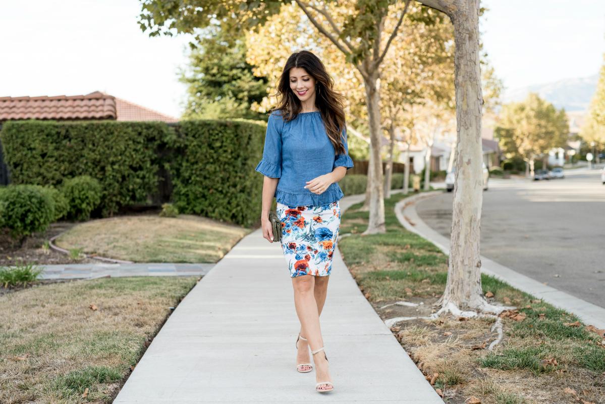 Floral skirt, Denim Ruffle Top