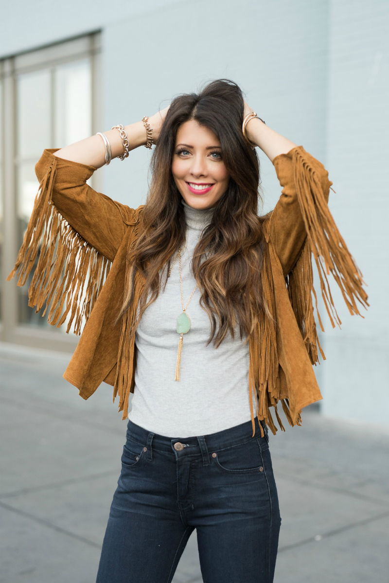 Fringe Jacket, Grey Turtleneck