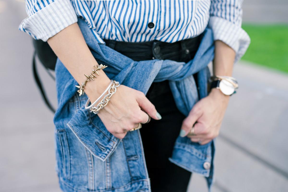 Striped Tee & Denim Jacket