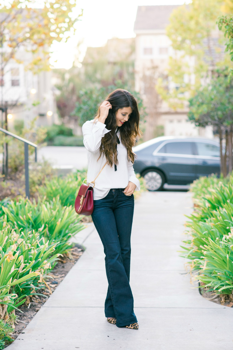 Bowtie Top, Flare Jeans