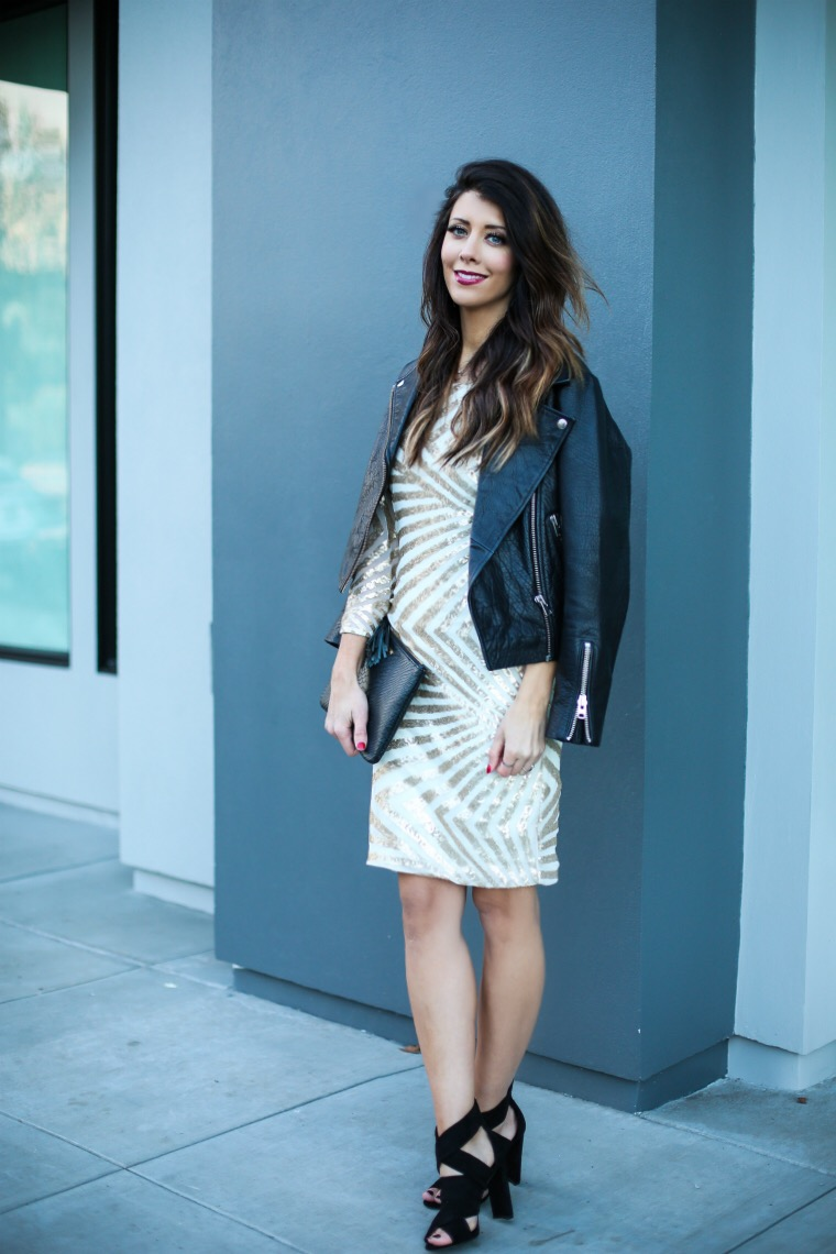 Sequin Dress, Leather Jacket