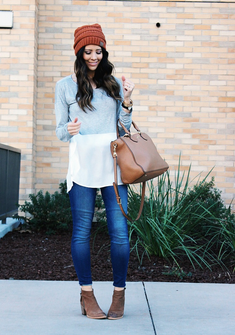 Beanie, Booties and Comfy Top