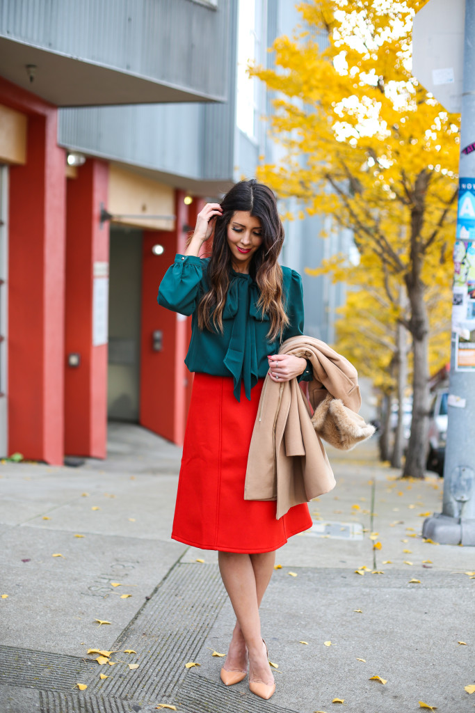 Red Skirt, Green Bow Tie Blouse