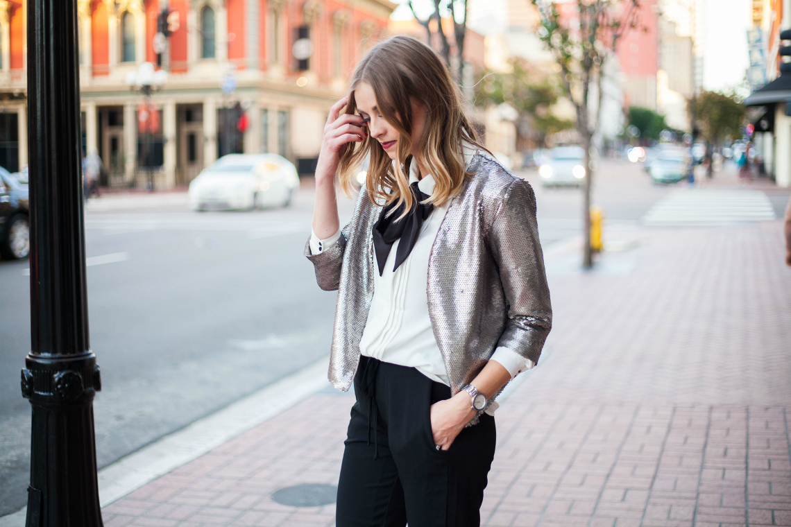 Bowtie Top + Sequin Jacket