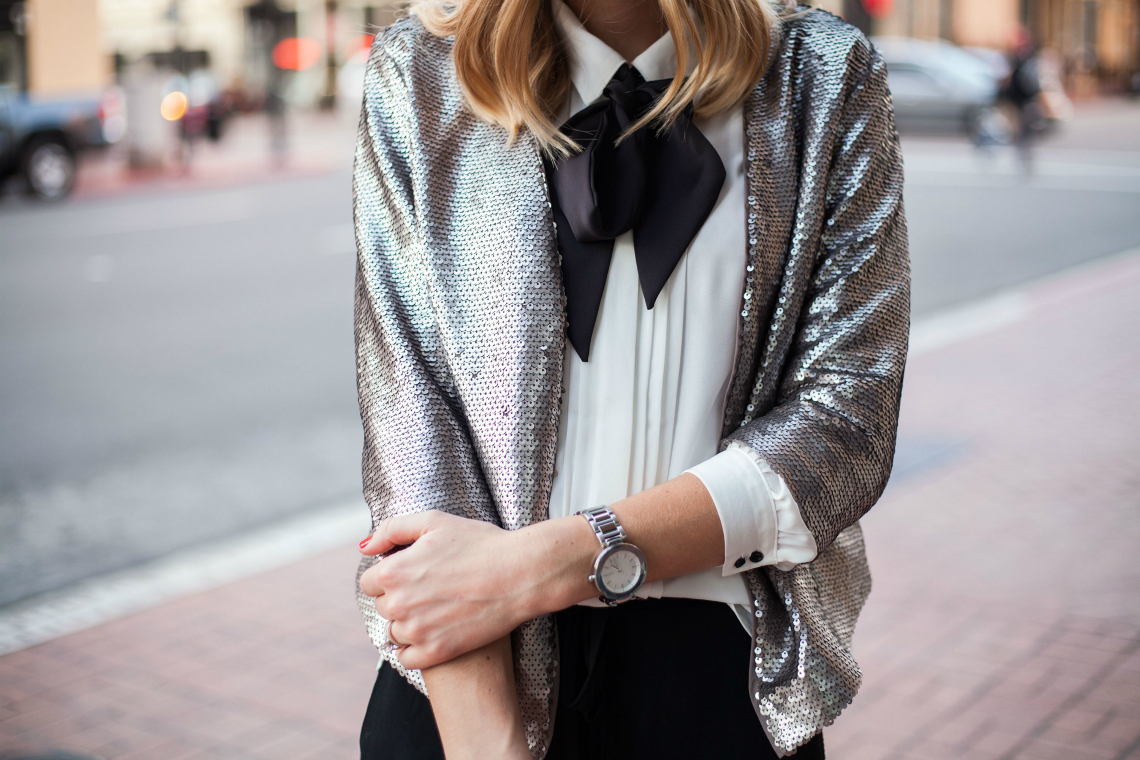Sequin Jacket + Bowtie Top