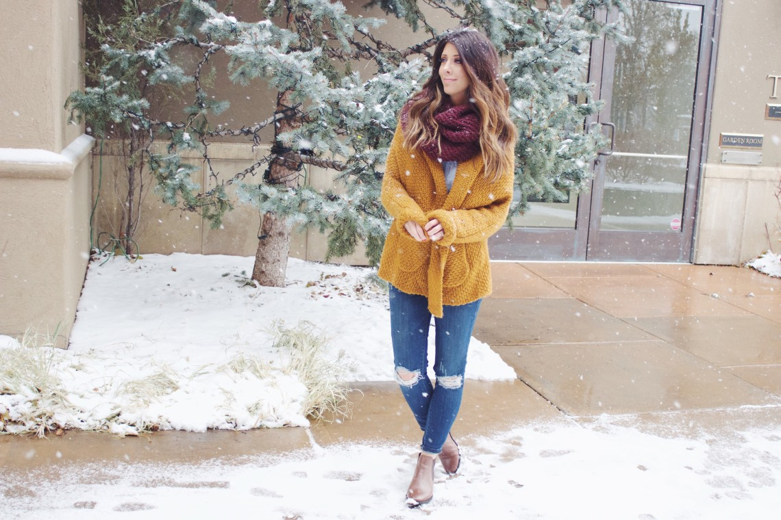 Comfy Scarf & Sweater + Ankle Booties