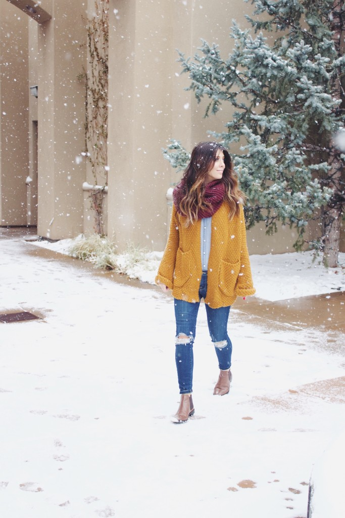 Cardigan, Scarf, Ripped Jeans