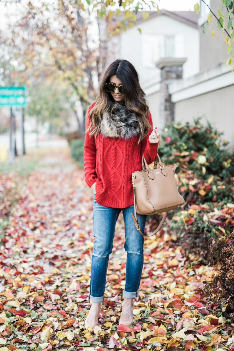 red sweater fall style (1)
