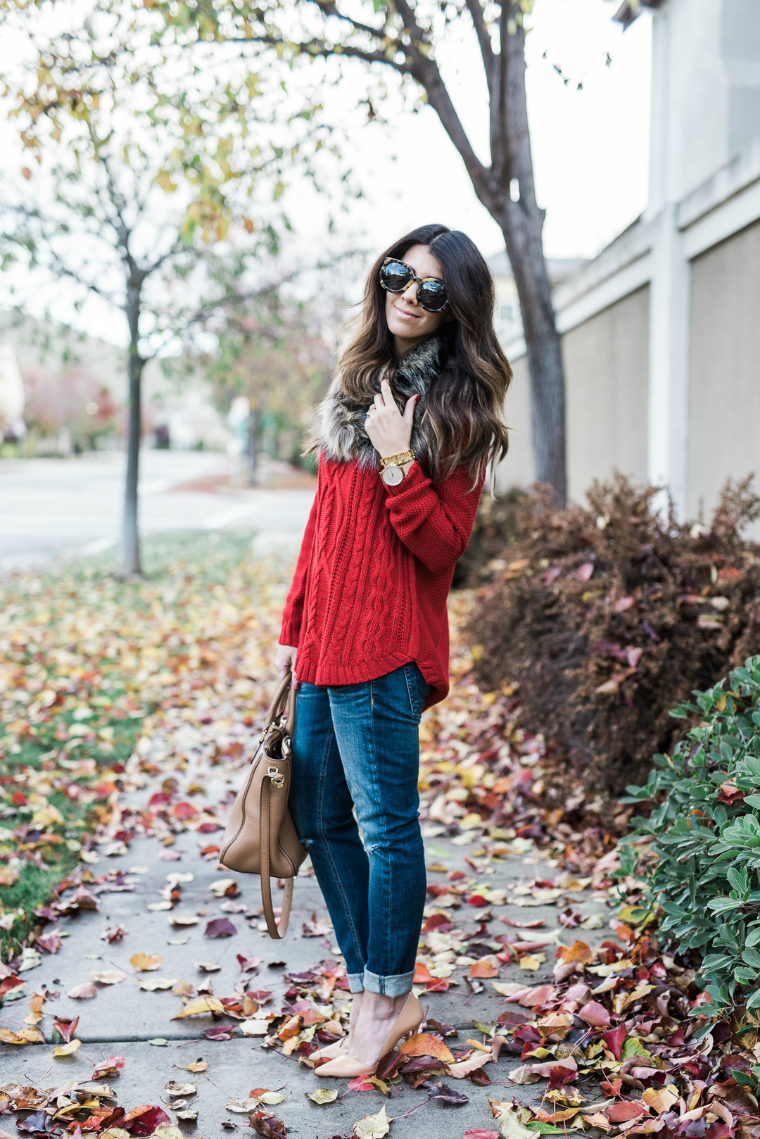 red sweater fall style (12)