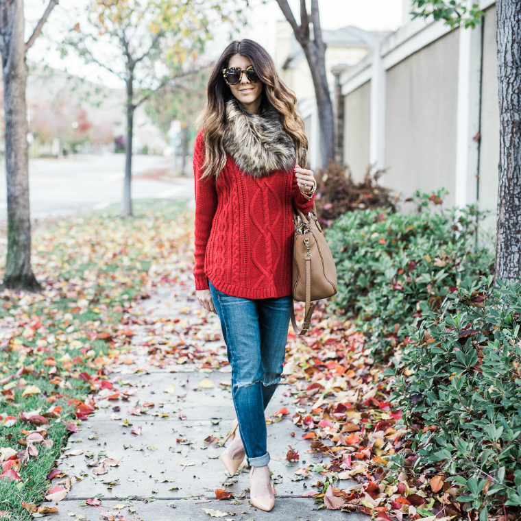 red sweater fall style (14)