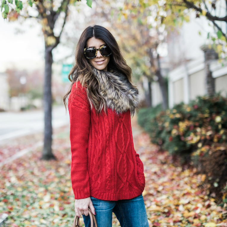 red sweater fall style (6)