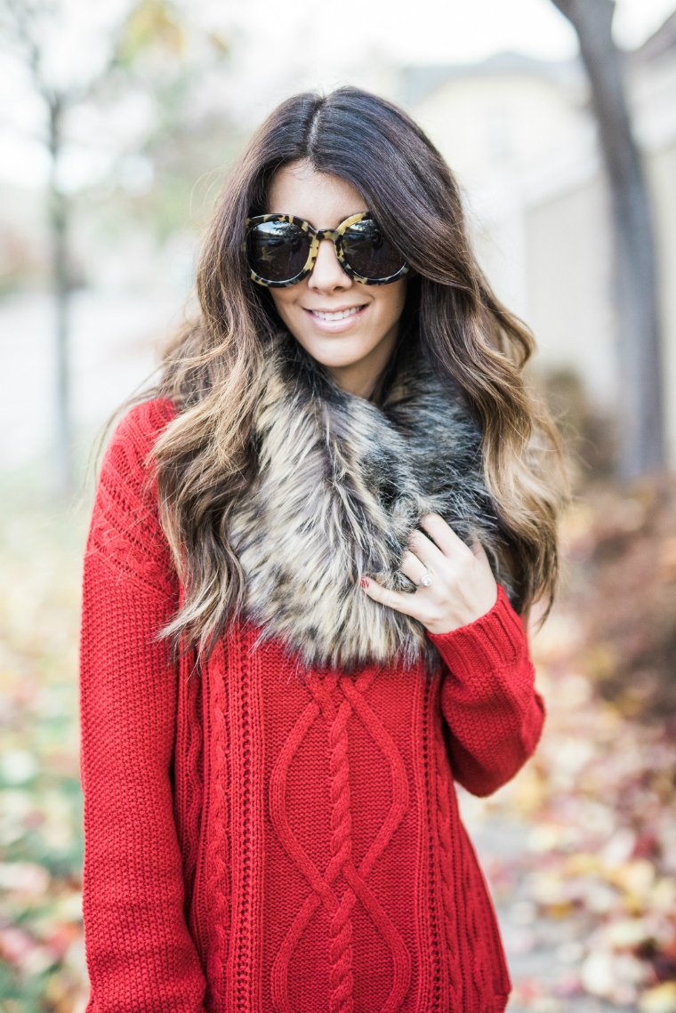 red sweater fall style (8)